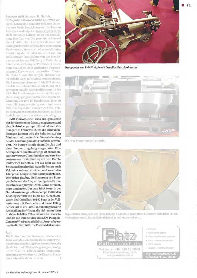 Artikel_DDW_14.01.2017_Bericht-Messe-Vinitech-PMH vinicole oenopompe
