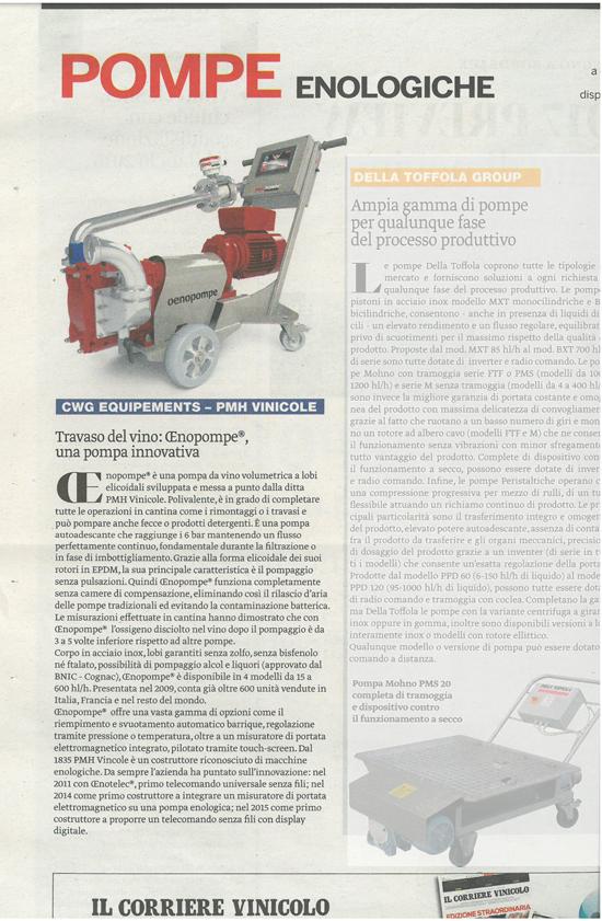 Oenopompe PMH Vinicole Il Corriere Vinocolo pompa-del-vino-innovativa