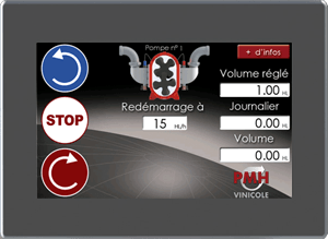 écran oenopompe tactile couleur Live transcript of pumping data from OENOFLUX